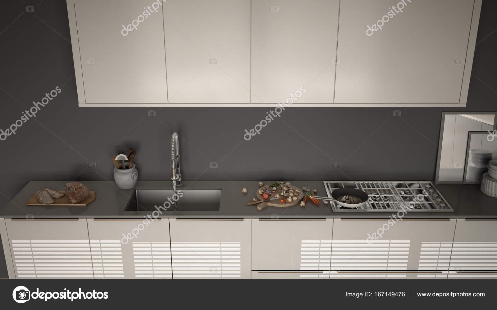 Moderne keuken met aanrecht en fornuis koken pan en voedsel