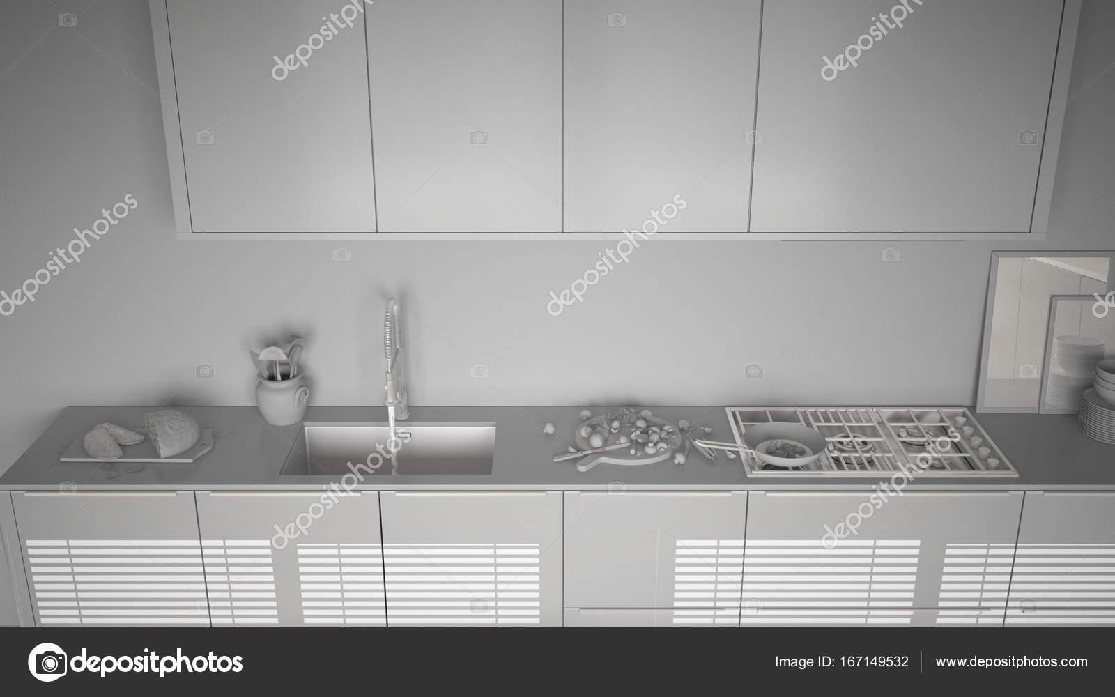 Totale witte project van moderne keuken met aanrecht en fornuis