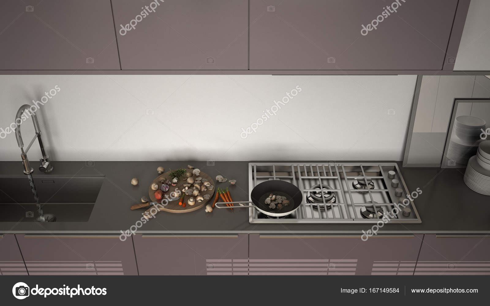 Moderner Kuche Mit Spule Und Herd Kochen Pfanne Und Essen In Der