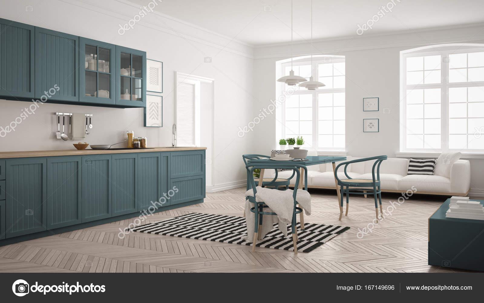 Minimalistische moderne Küche mit Esstisch und Wohnzimmer, whi ...