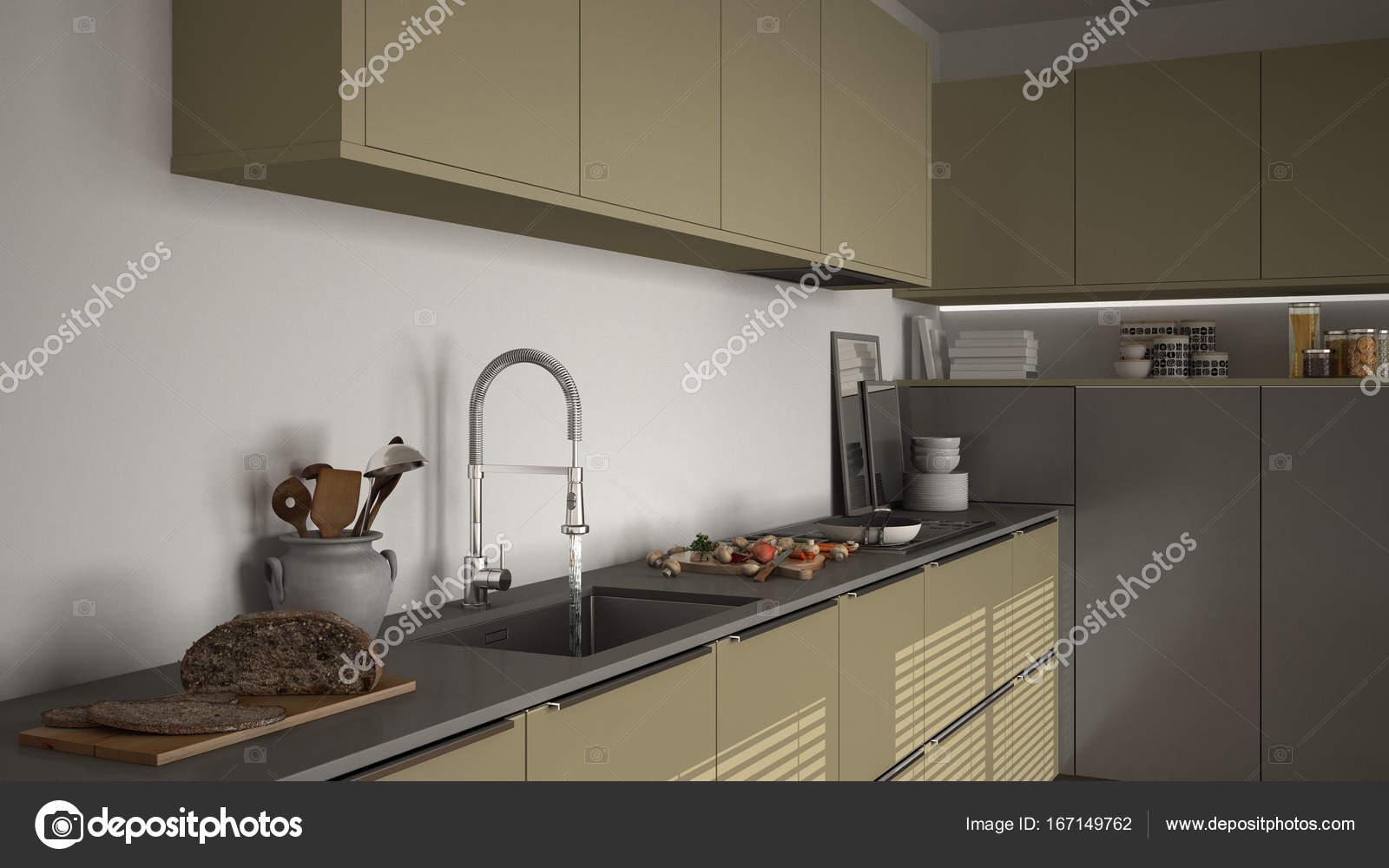 Moderner Küche mit Spüle und Herd, Kochen Pfanne und Essen, in der ...