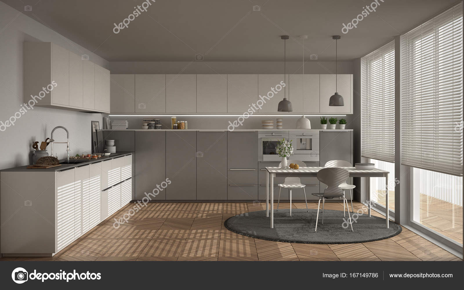 Cucina moderna con tavolo e sedie, grandi finestre e herringbon ...
