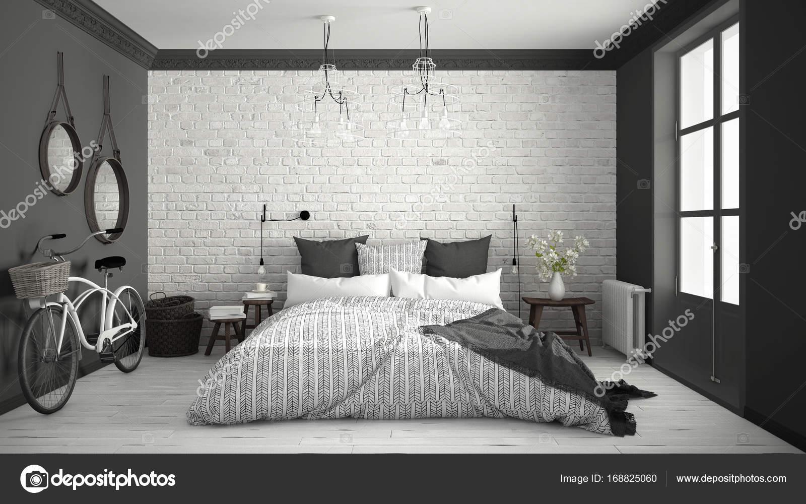 Camera Da Letto Bianco E Grigio : Bianco e grigio moderno camera da letto con letto matrimoniale