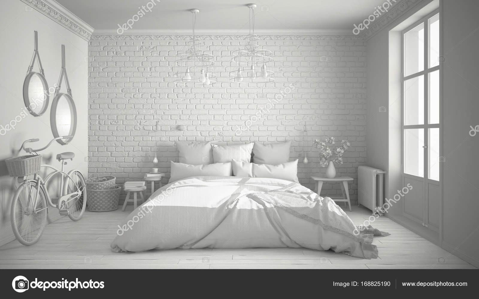 Bianco totale progetto della moderna camera da letto con letto ...