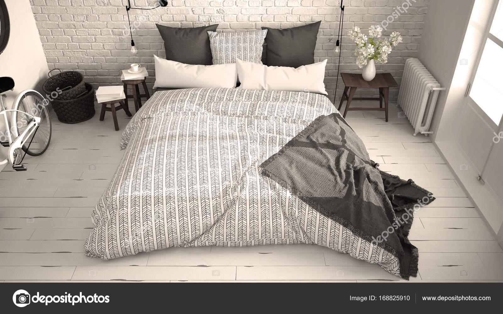 Dormitorio vintage blanco y gris con cmoda cama doble pared de