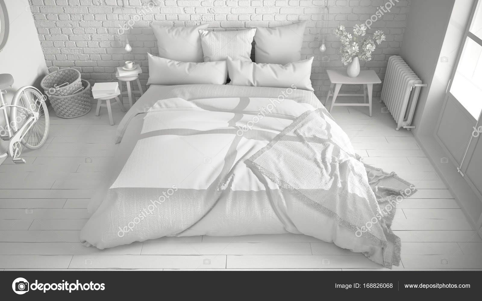 Total Du Projet Blanc De Moderne Chambre à Coucher Avec Lit Double  Confortable, Mur De Brique, Plancher En Bois Et Grande Fenêtre, Scandinaves  Architecture ...