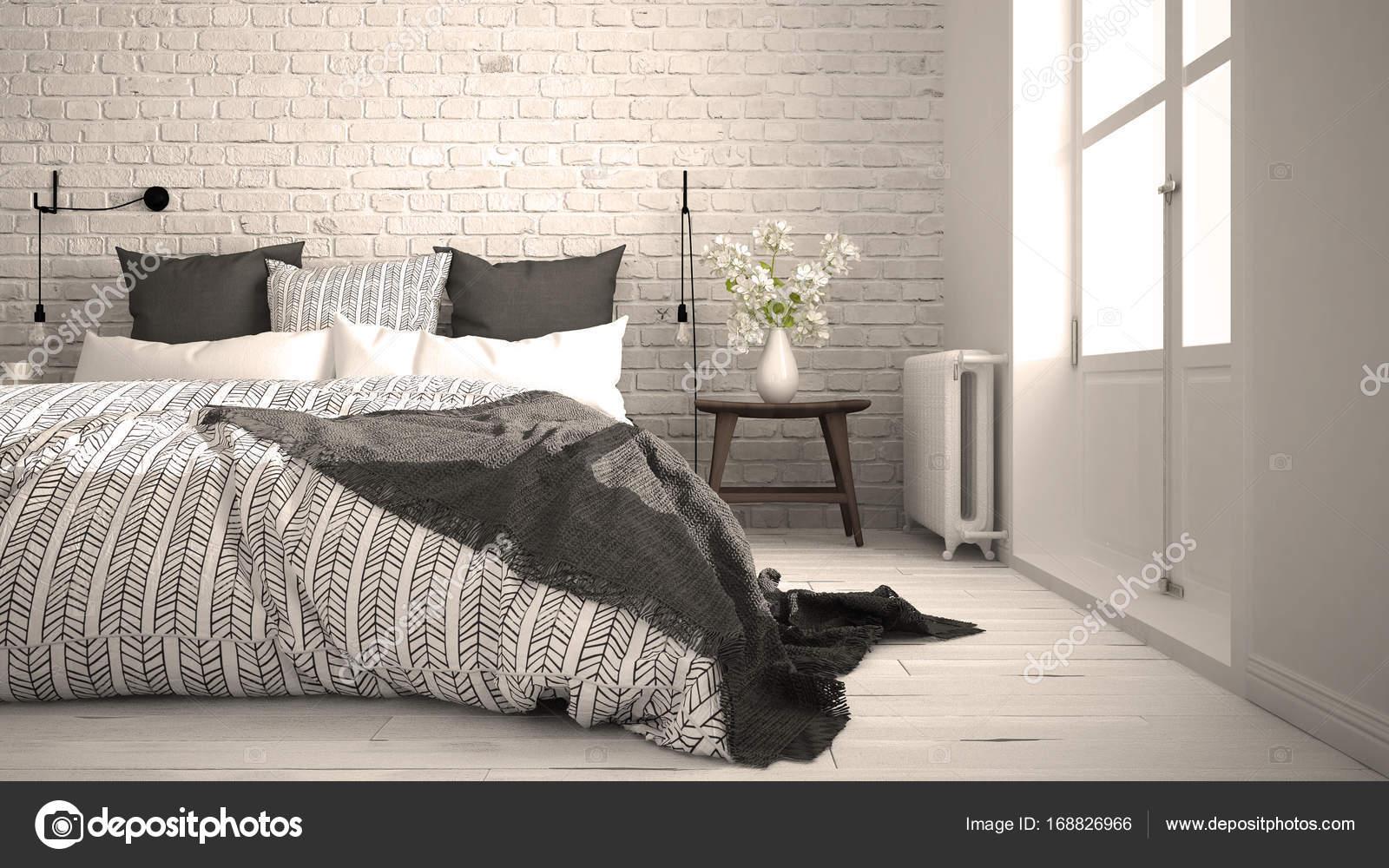 Attrayant Blanc Et Gris Moderne Chambre à Coucher Avec Lit Double Confortable, Mur De  Brique, Plancher En Bois Et Grande Fenêtre, Architecture Minimaliste  Scandinave ...
