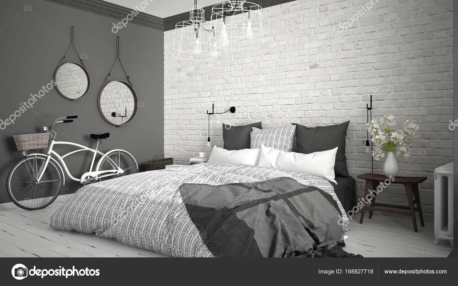 Camere Da Letto Matrimoniali Vintage : Bianco e grigio moderno camera da letto con letto matrimoniale