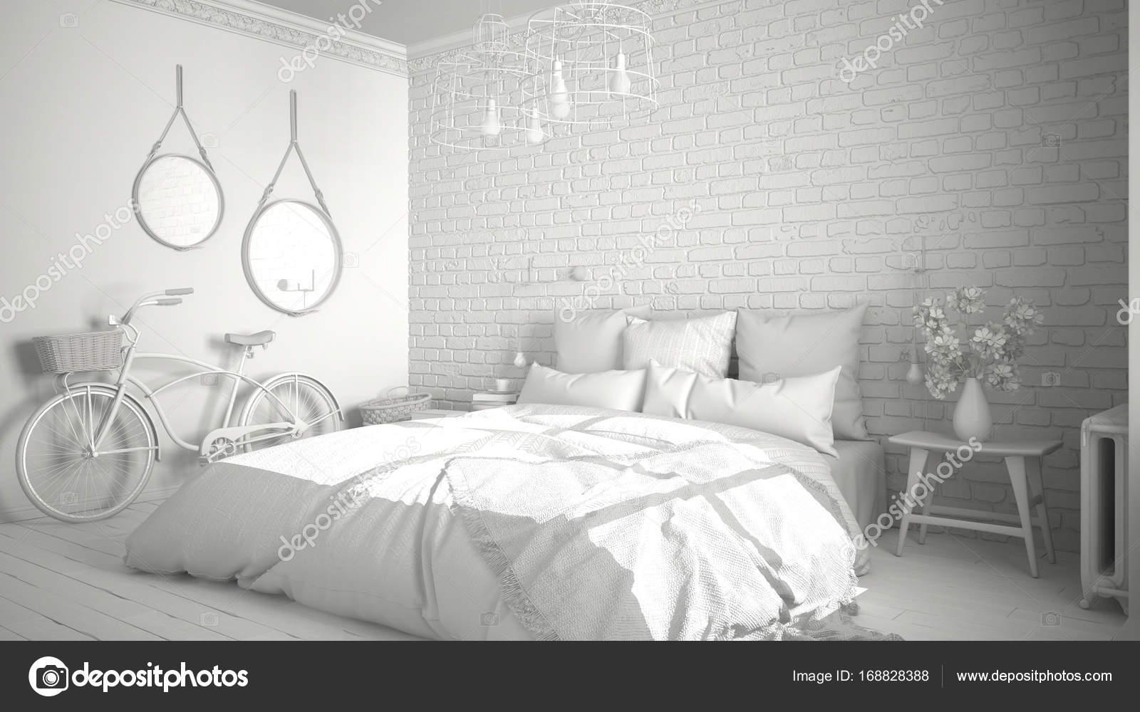 Attrayant Total Du Projet Blanc Moderne Chambre Avec Un Lit Double Confortable, Mur  De Briques, Plancher En Bois Et Grande Fenêtre, Scandinaves Architecture ...