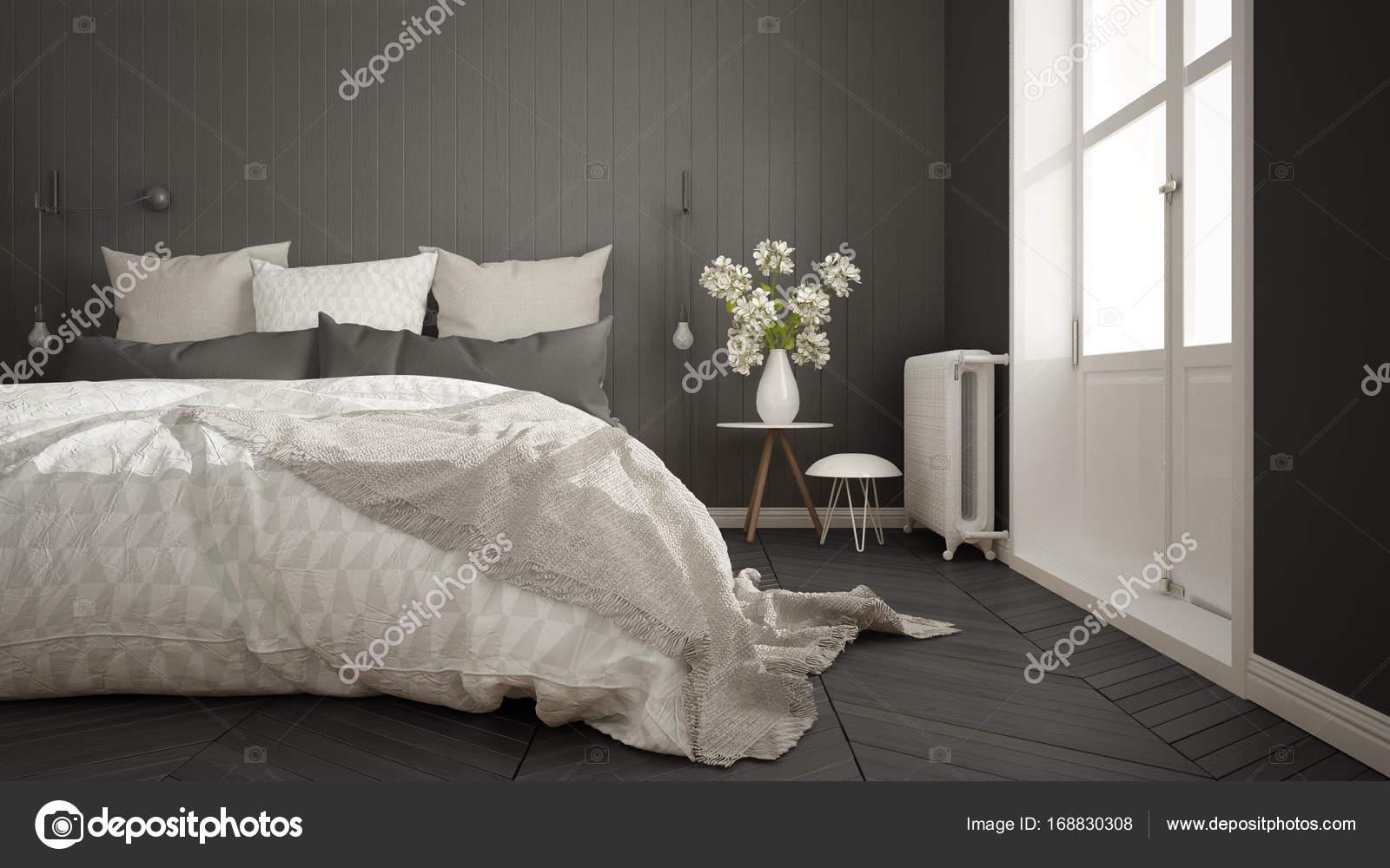 Camera da letto minimalista scandinavo con grande finestra e a spina di pesce foto stock - Camera da letto grande ...