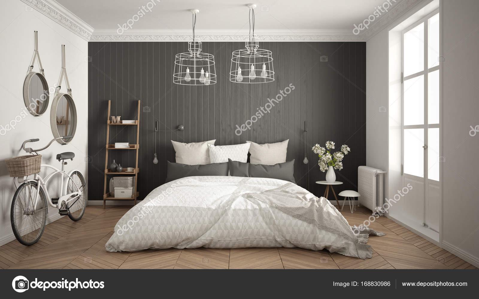 Kleine Minimalistische Slaapkamer : Scandinavische minimalistische slaapkamer met groot raam en visgraat