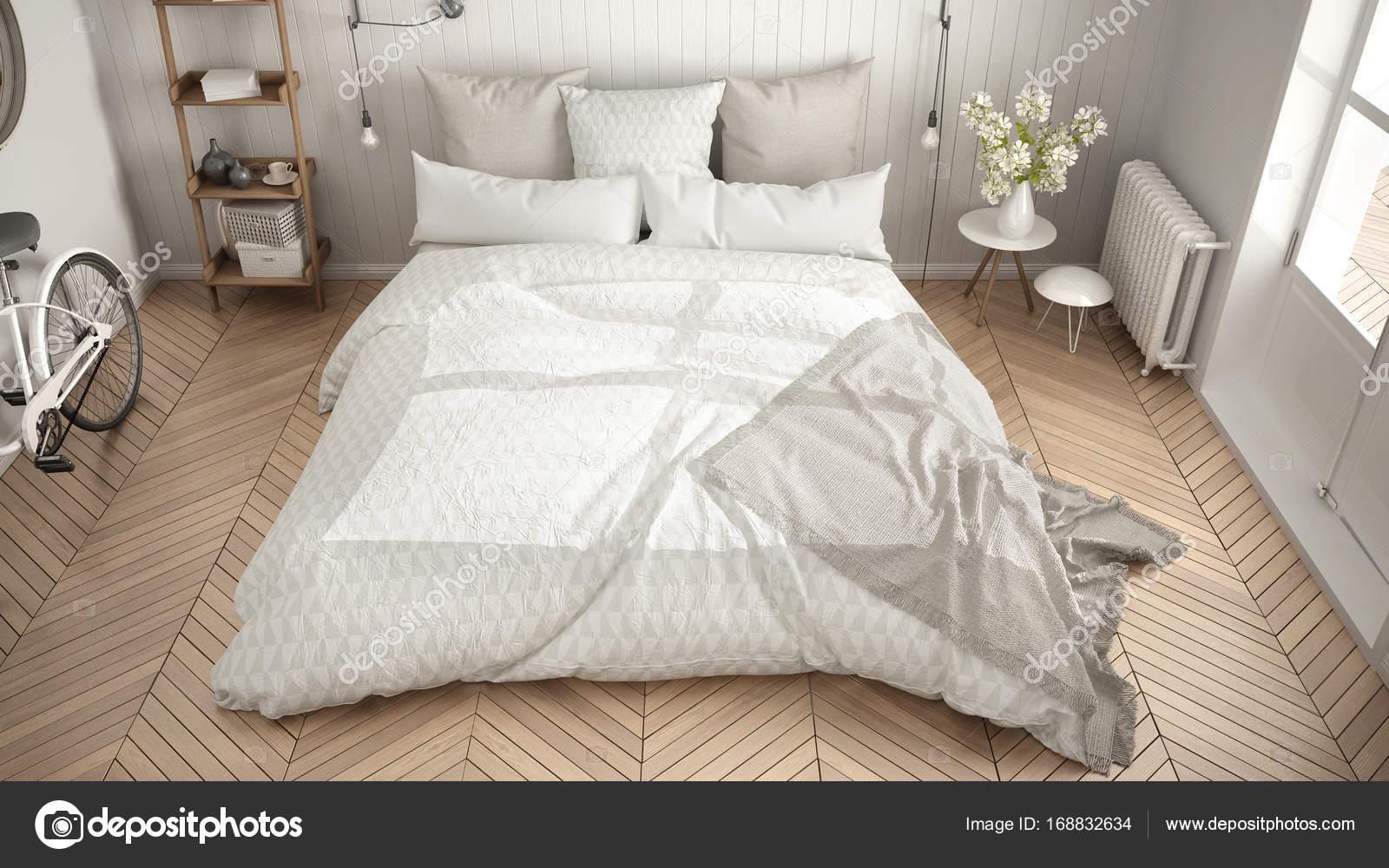 Arredamento Minimalista Camera Da Letto : Camera da letto minimalista scandinavo con grande finestra e a