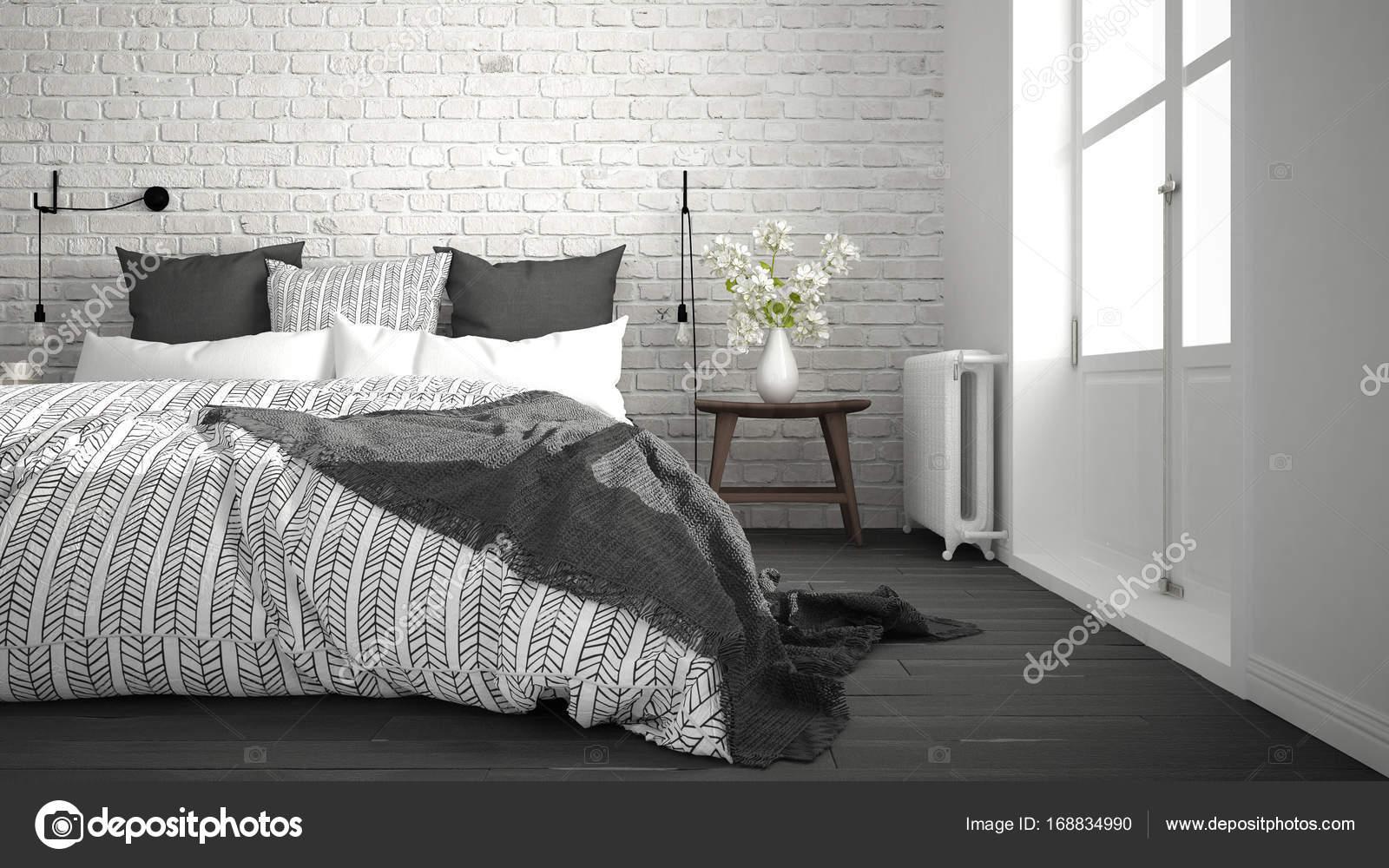branco e cinzento moderno quarto com cama de casal confort vel parede de tijolo fotografias. Black Bedroom Furniture Sets. Home Design Ideas