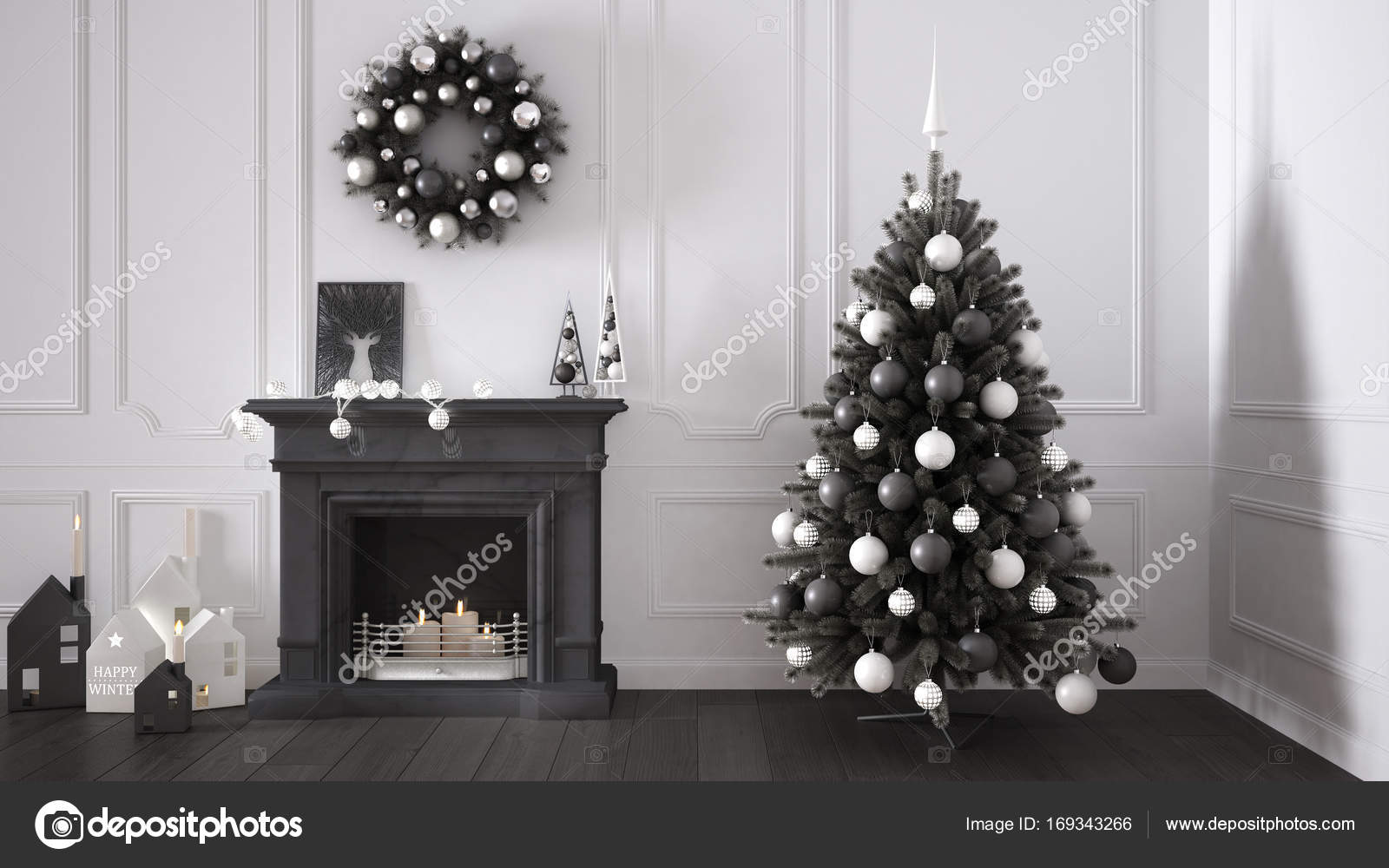 Foto Alberi Di Natale Bianchi classic living room with fireplace, christmas tree and