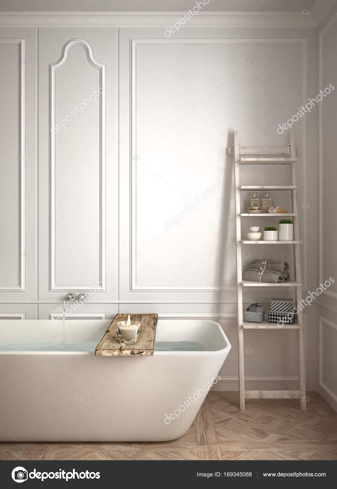 Minimalist bathroom close-up, white scandinavian interior design ...