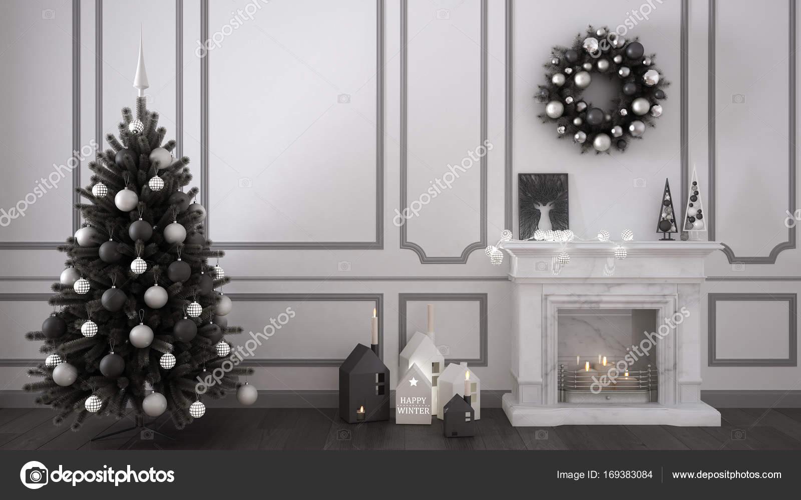 Camino Classico Bianco : Salotto classico con camino albero di natale e decorazioni w