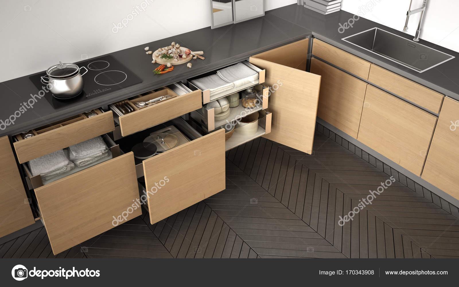 Houten Accessoires Keuken : Moderne keuken bovenaanzicht opende houten laden met accessoires