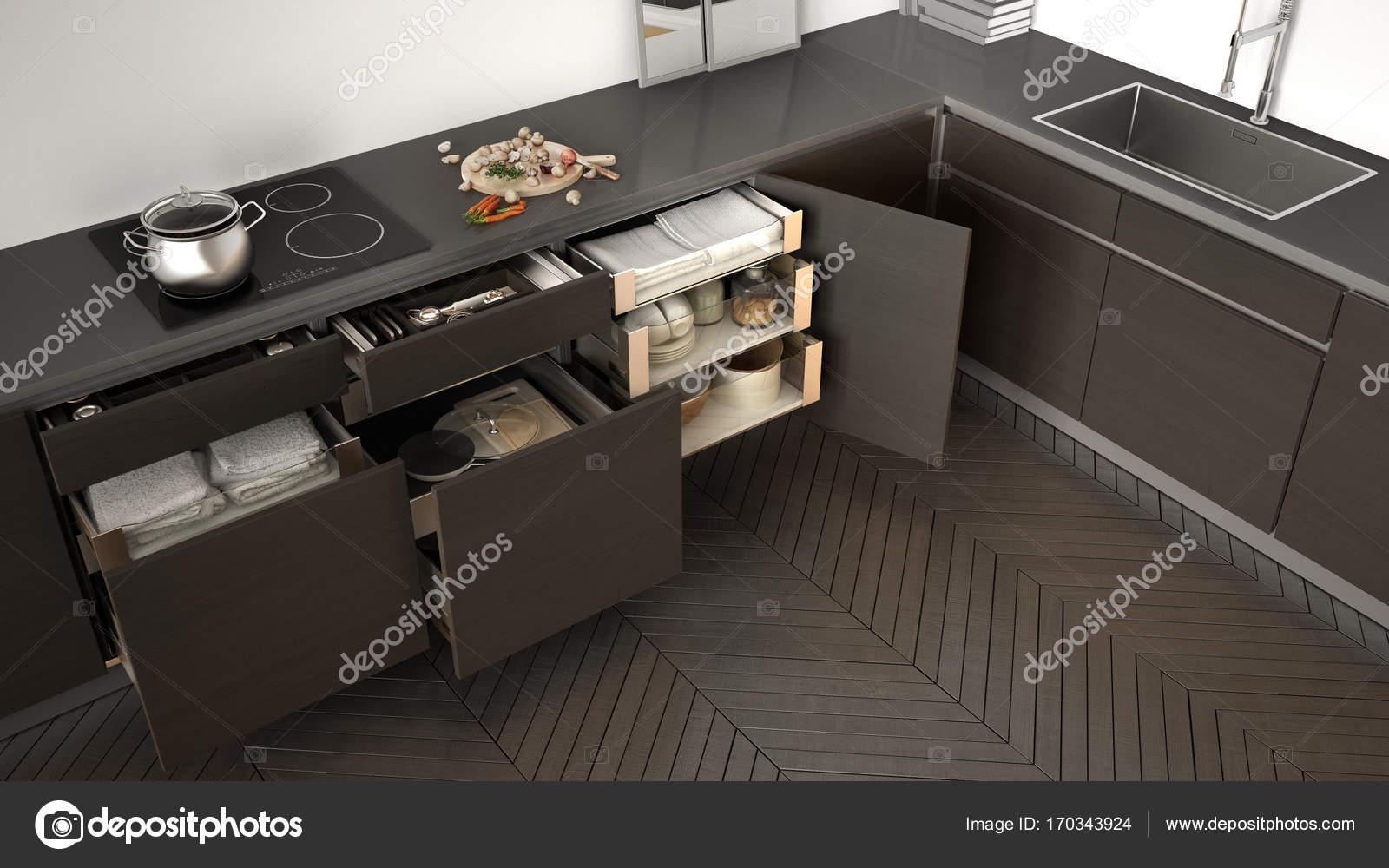 Vista superior de la cocina, abrió cajones de madera con ...
