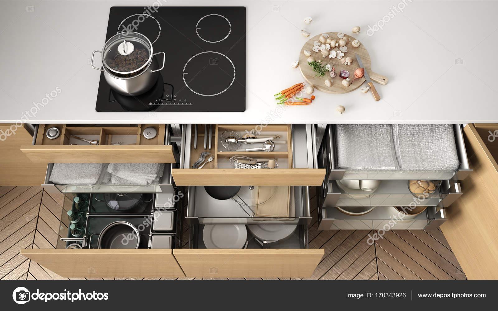 ouvre le tiroir de cuisine en bois avec accessoires lintrieur solution de conservation de la cuisine et organisation cuisine design intrieur moderne