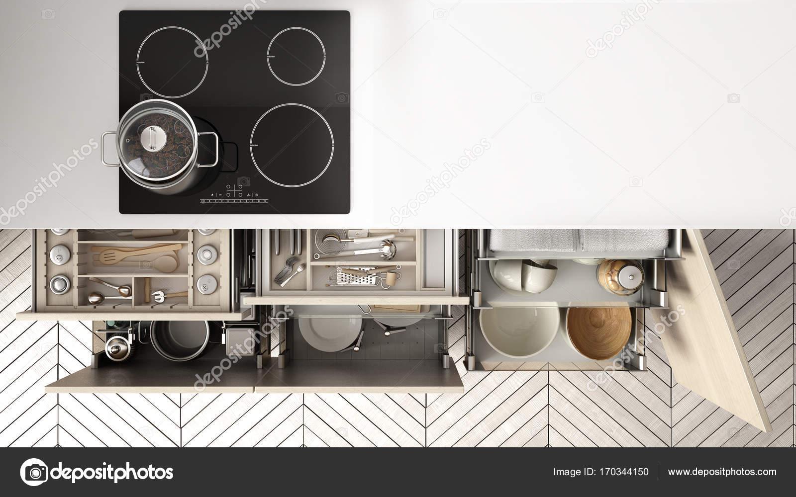 Cucina moderna vista dall\'alto, aperto cassetti e piano ...