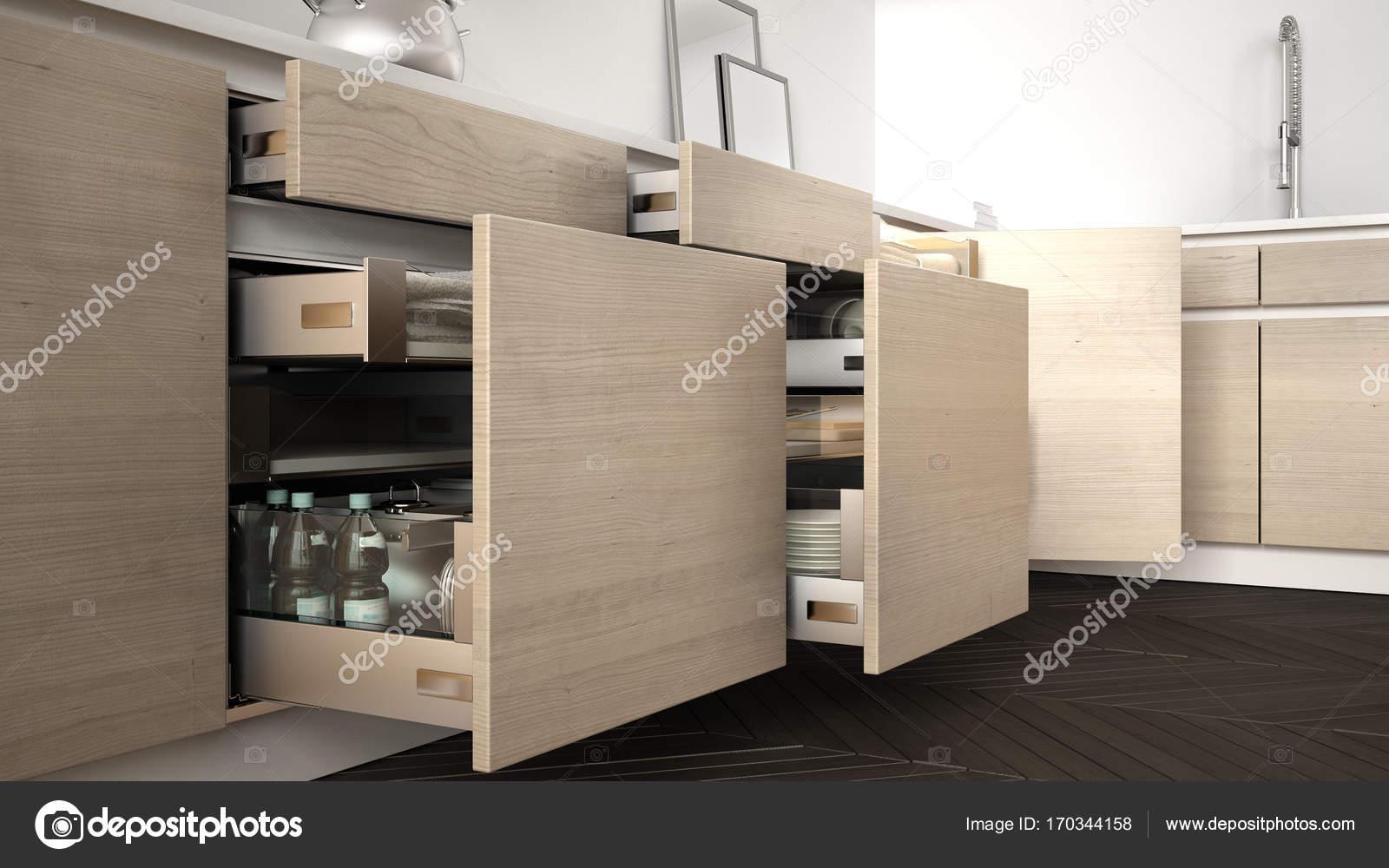 Grey Keuken Houten : Moderne keuken houten laden met accessoires binnen s geopend