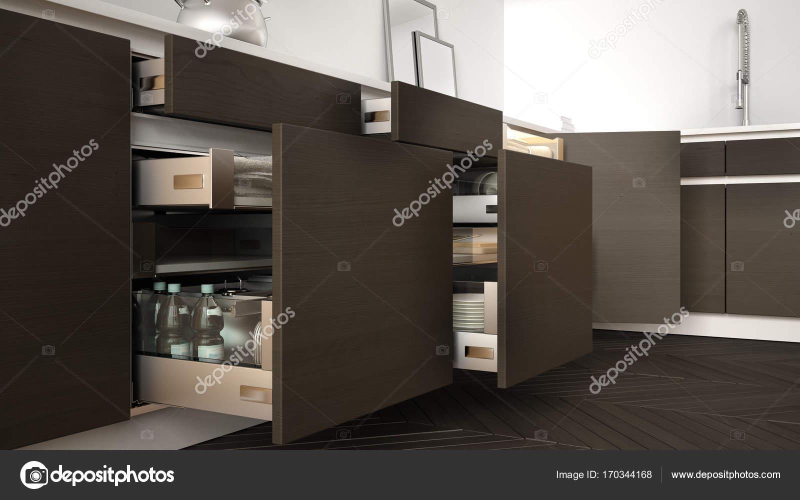 cuisine moderne ouvert des tiroirs en bois avec accessoires lintrieur