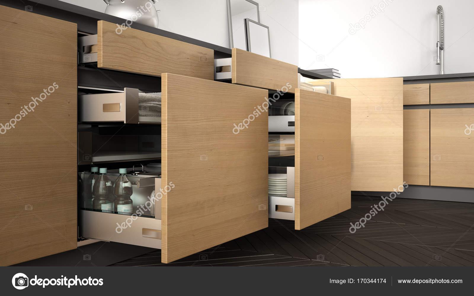 Cucina moderna, aperto i cassetti in legno con accessori all\'interno ...