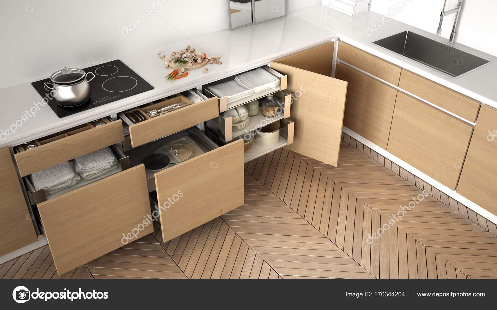 Accessori Per Cucina Moderna.Vista Superiore Di Cucina Moderna Aperto Cassetti In Legno