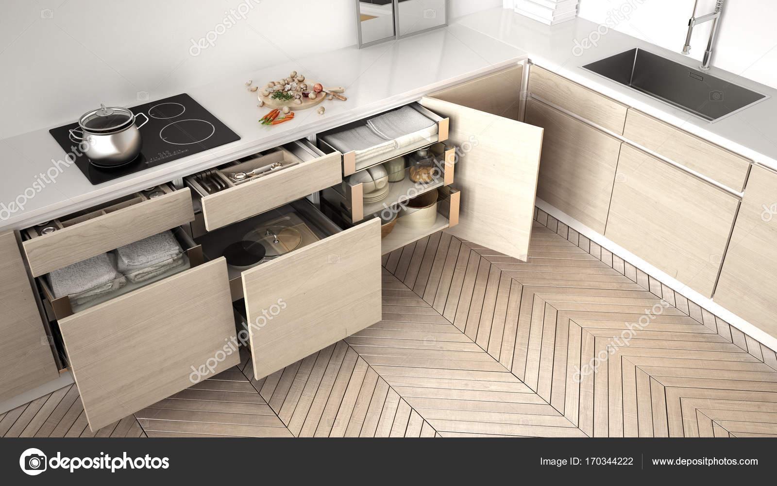 Moderne Küche Draufsicht, eröffnete Holzschubkästen mit Zubehör ...