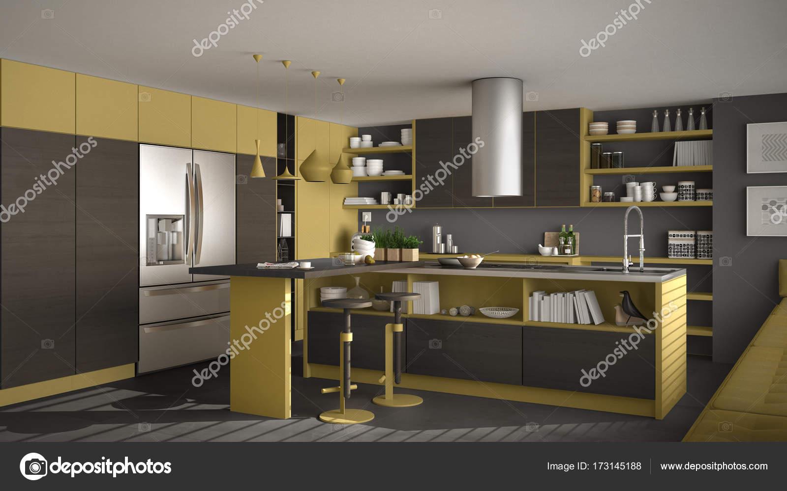 Moderna Cozinha De Madeira Com Detalhes Em Madeira Cinza E Amarela