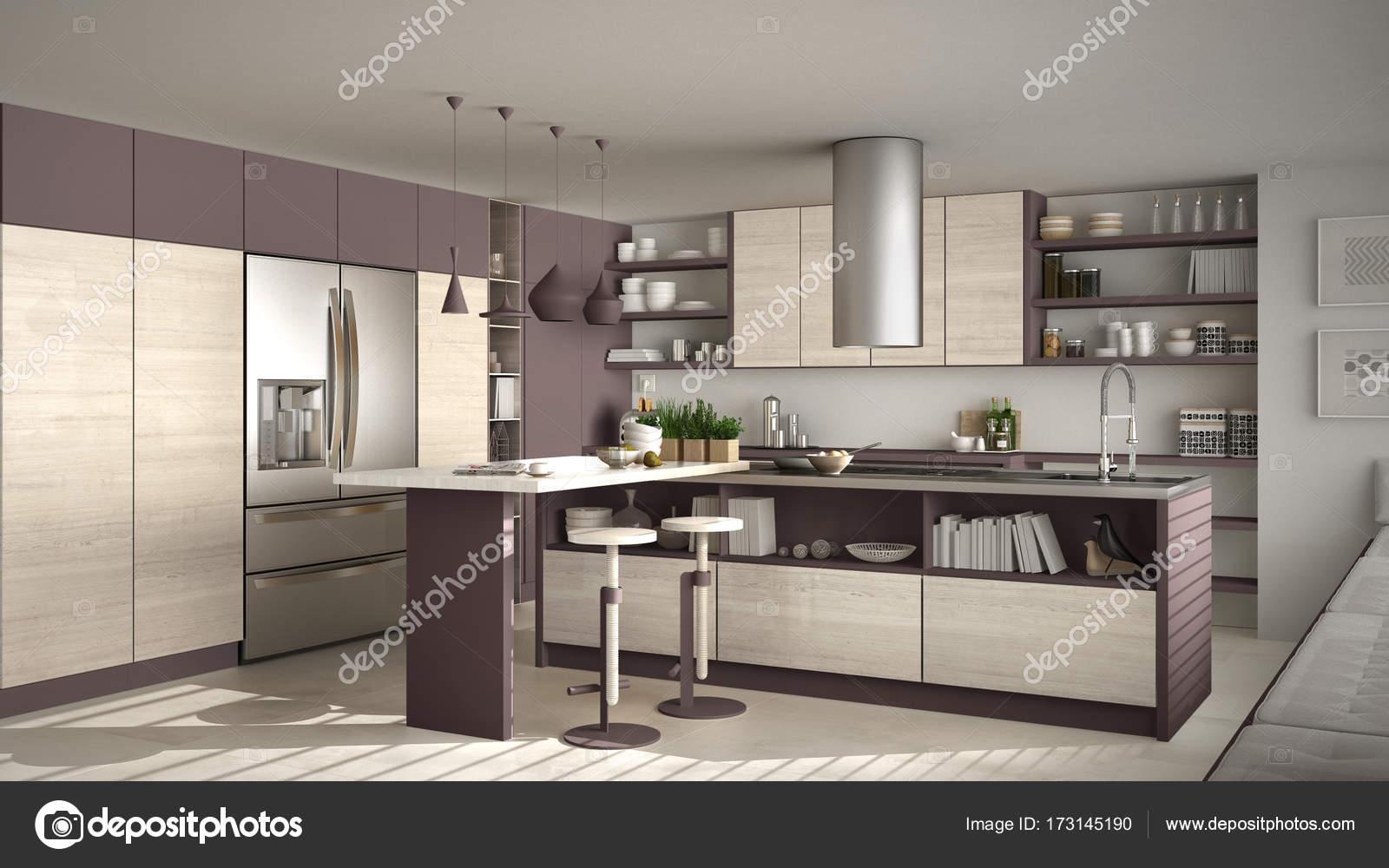 Moderne houten keuken met houten details wit en rood minimale