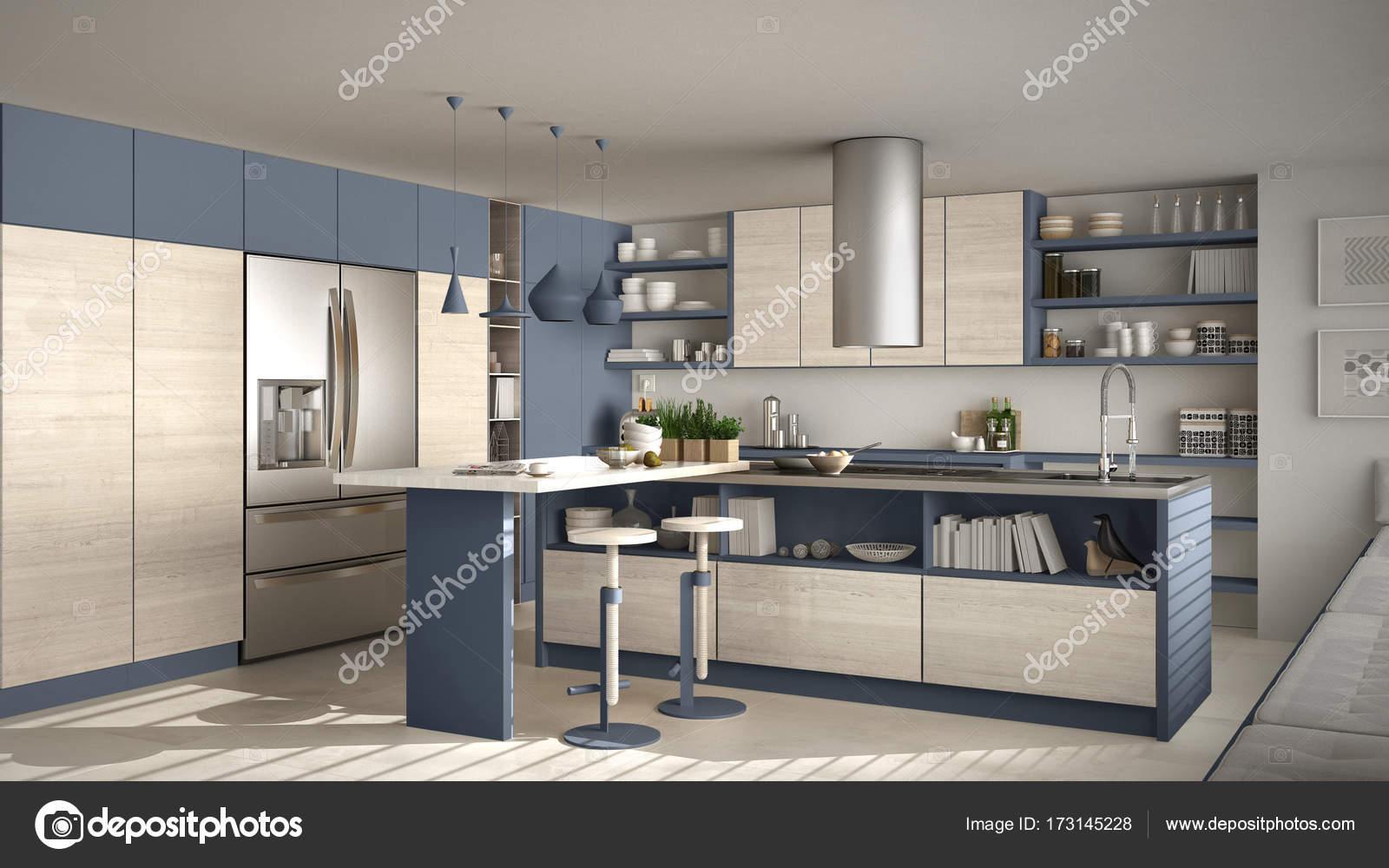 Cucina moderna in legno con dettagli in legno, bianchi e blu minimi ...