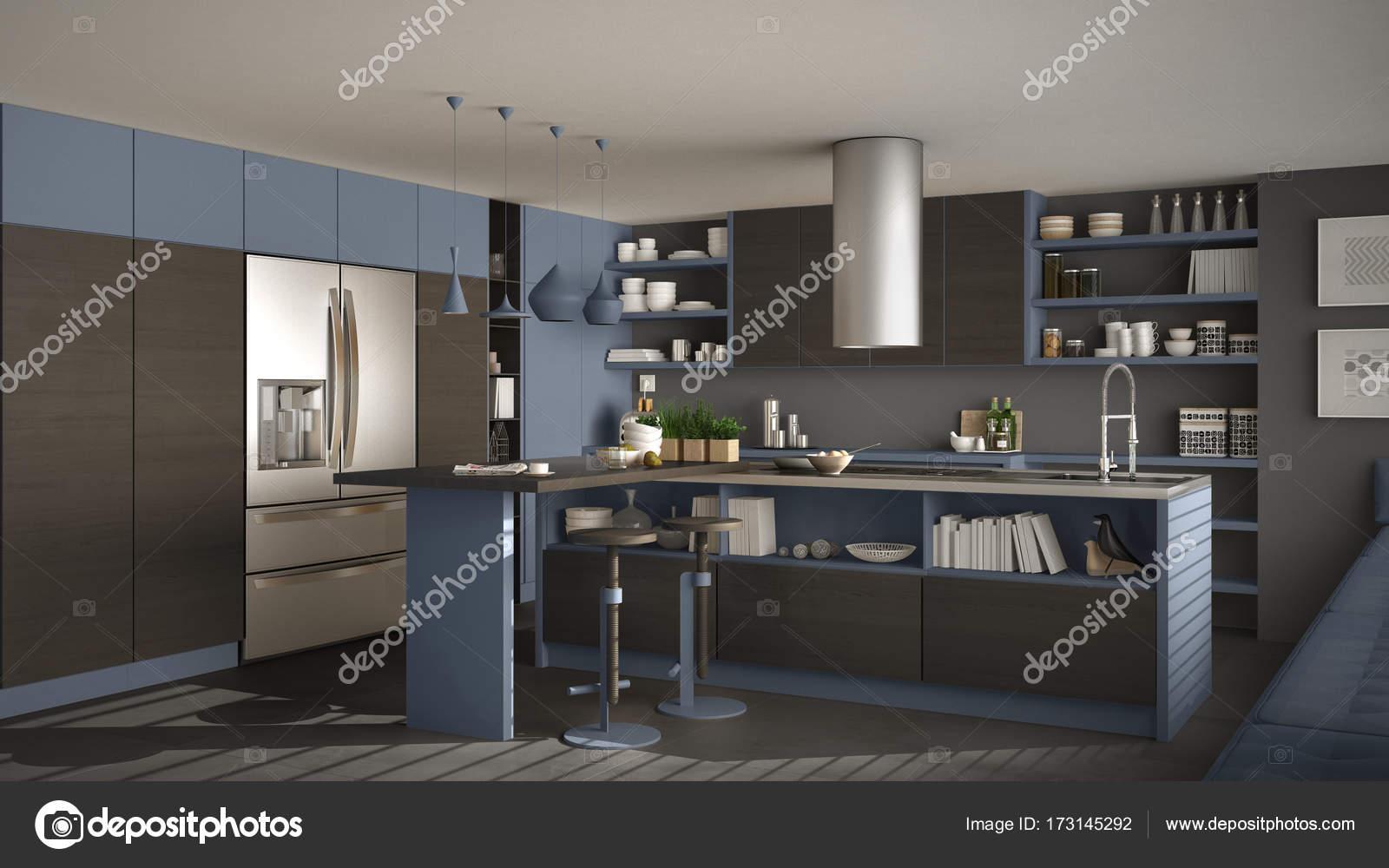 Moderna Cozinha De Madeira Com Detalhes Em Madeira Cinza E Azul