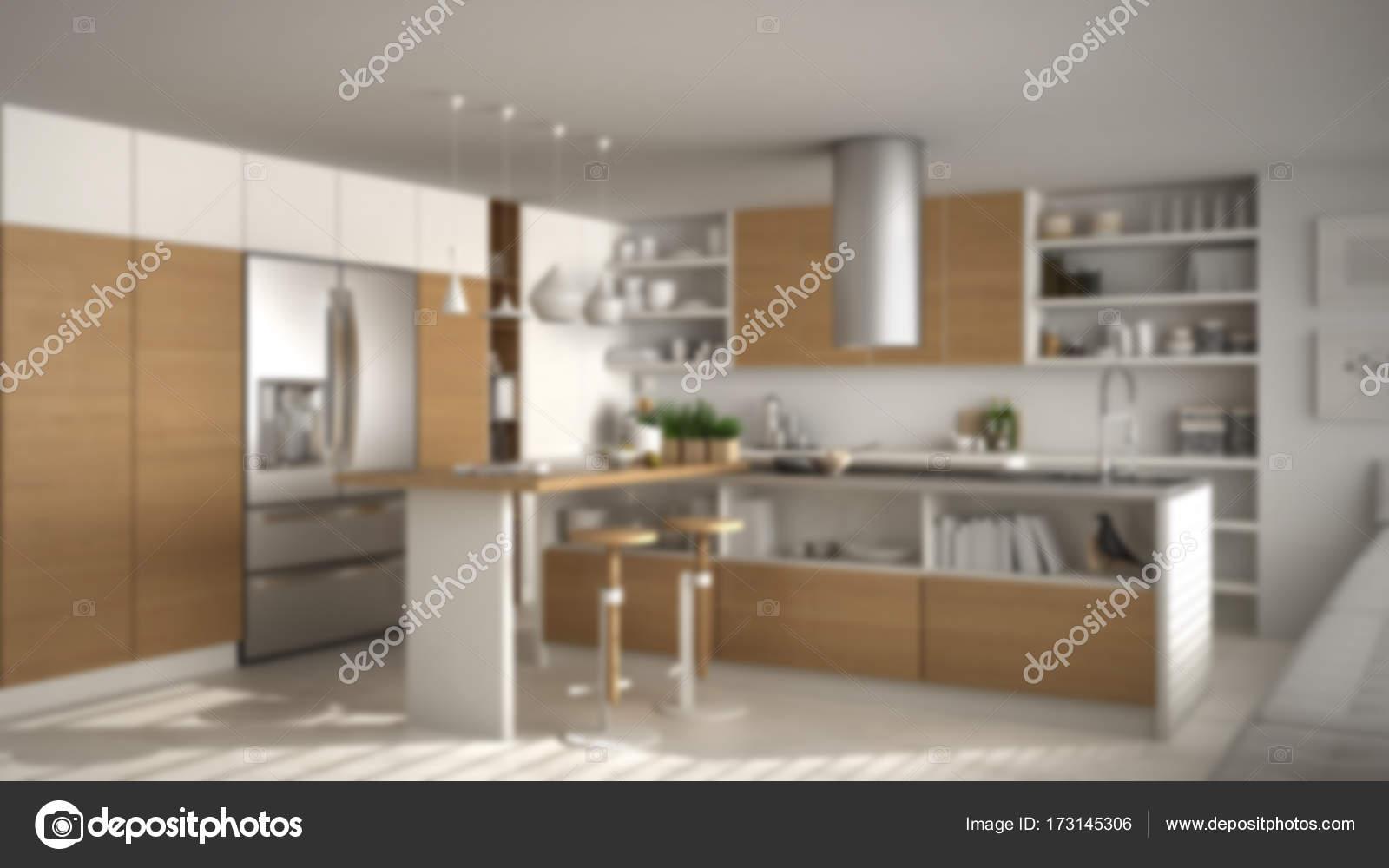 Desenfoque de fondo diseño de interiores, cocina moderna de madera ...