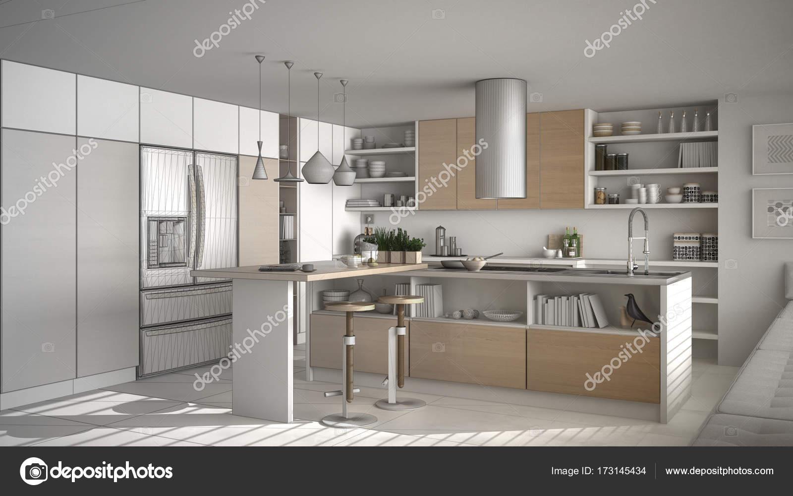 Unvollendete Projekt der moderne Holzküche mit hölzernen detai ...