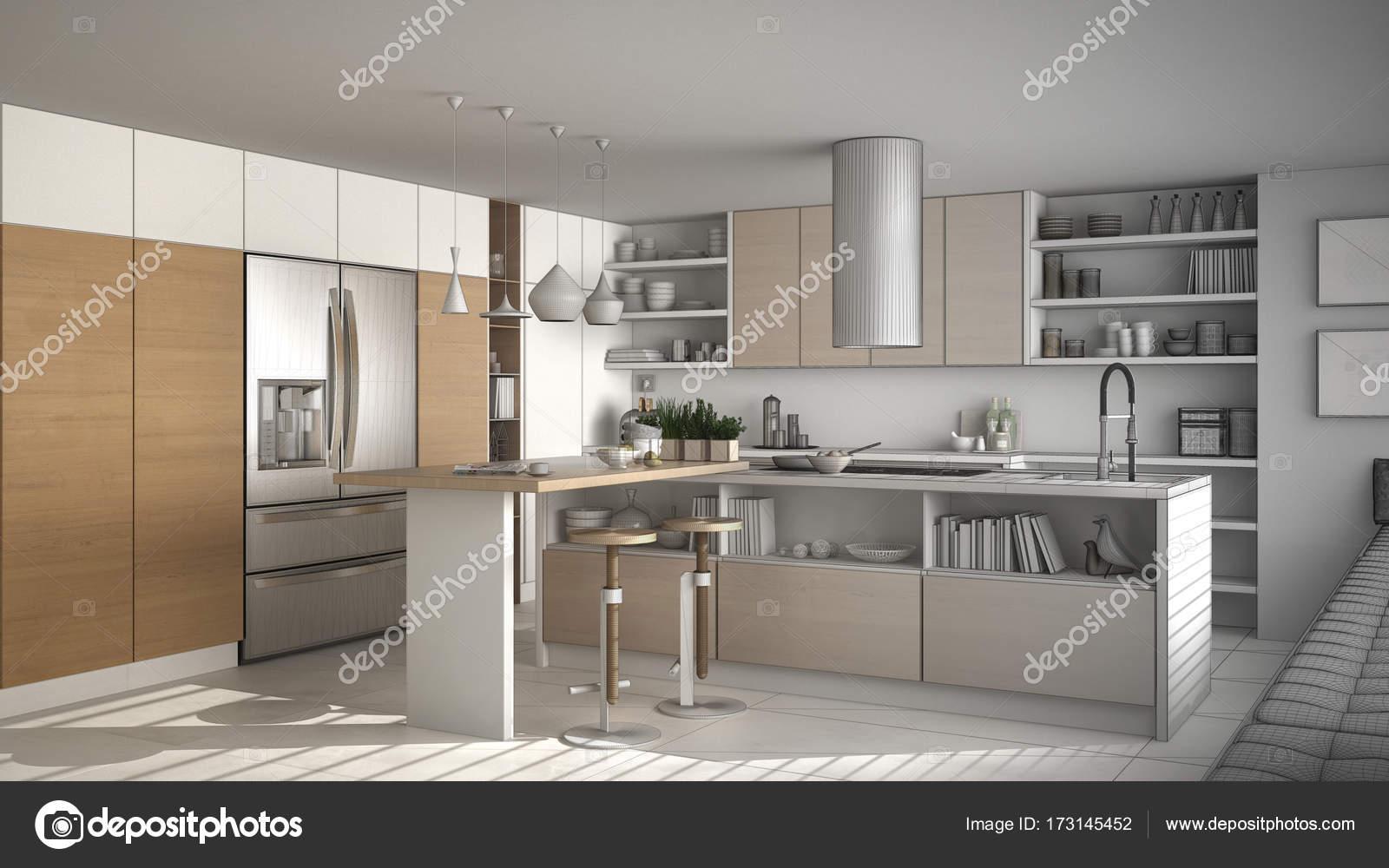 Projeto Inacabado Da Moderna Cozinha De Madeira Com Detalhes Em