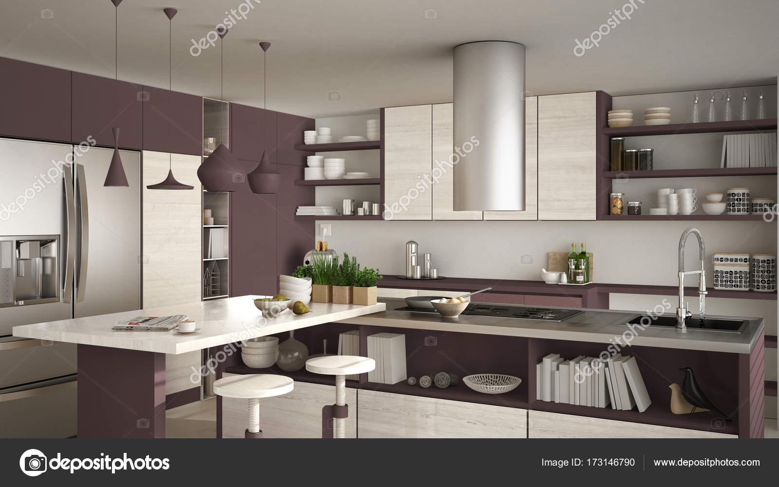 Cucina moderna in legno con particolari in legno, primi piani, isola ...