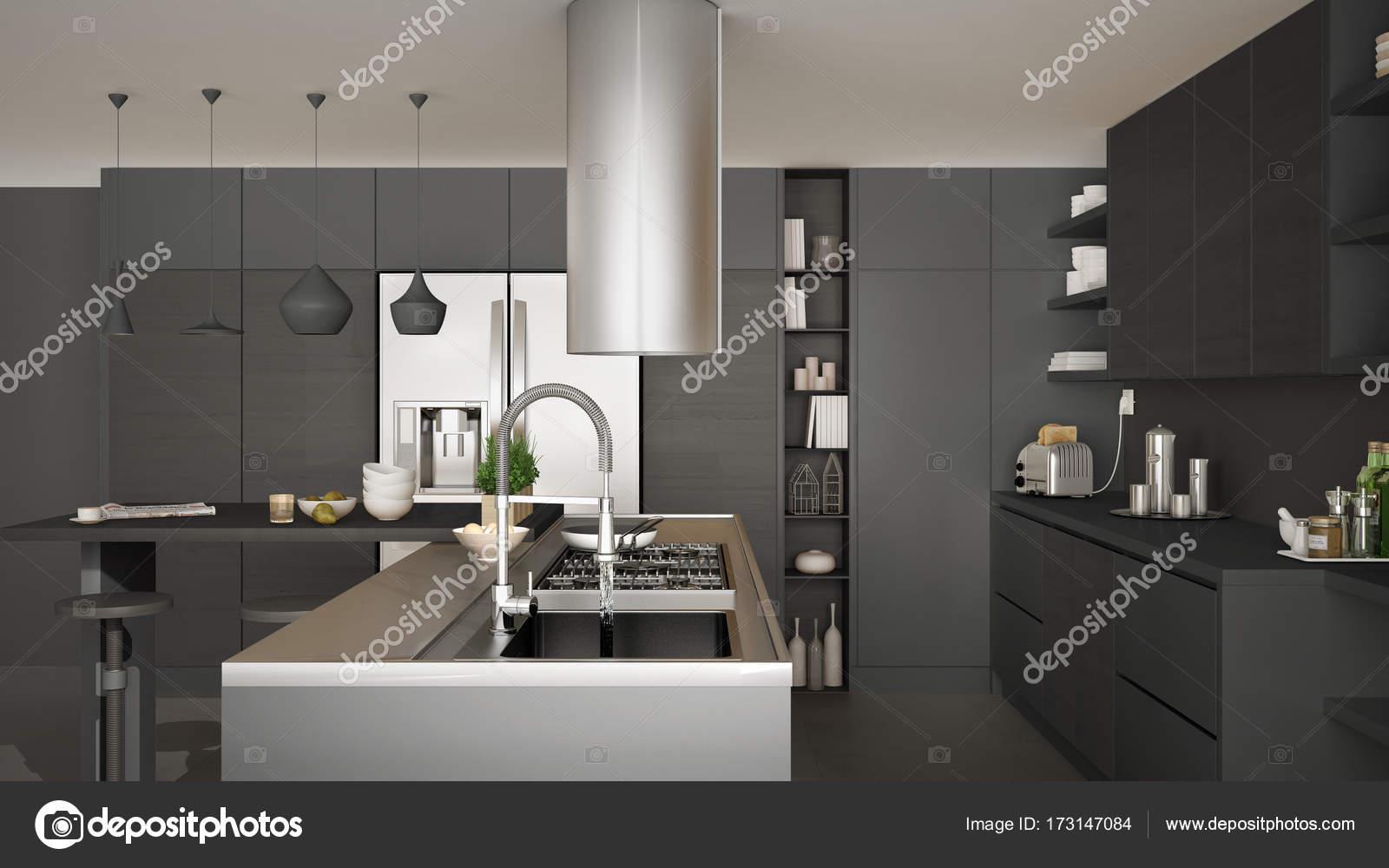 Moderne houten keuken met houten details dicht gaskachel w