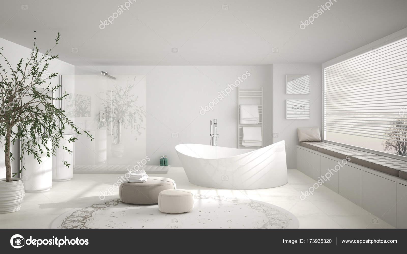 salle de bain classique moderne avec gros tapis rond grand panoramique w photo - Salle De Bain Classique