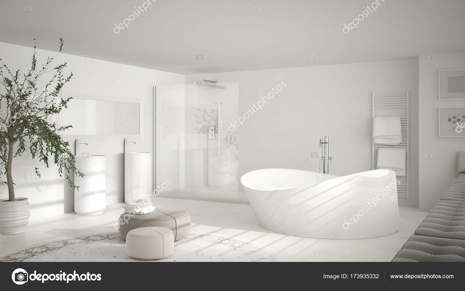 Nowoczesna łazienka Classic Z Ogromnym Okrągłym Dywanie
