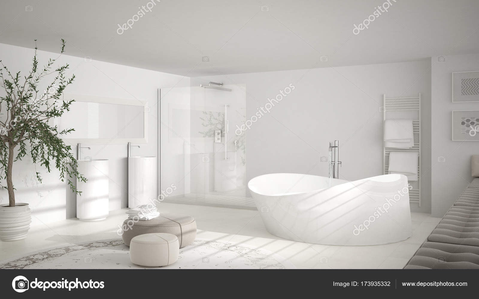 Globe Luminaire Salle De Bain ~ salle de bain classique moderne avec gros tapis rond minimaliste de