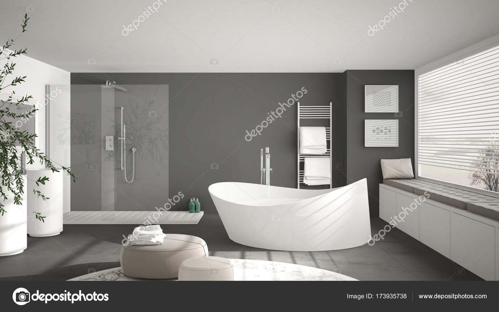 Moderne Klassische Bad Mit Grosser Runder Teppich Grosse Panorama W
