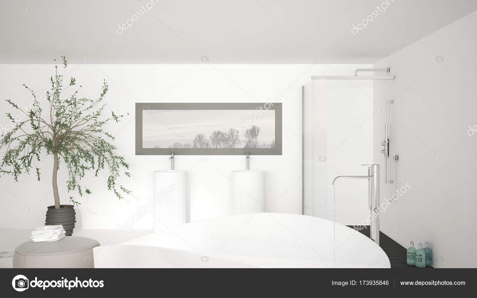 Moderne Klassische Bad Hautnah Auf Große Badewanne, Große Dusche Ein U2014  Stockfoto