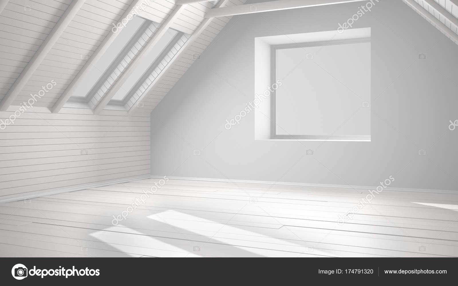 Totale progetto bianco della stanza vuota loft mansarda for Mansarda in legno bianco