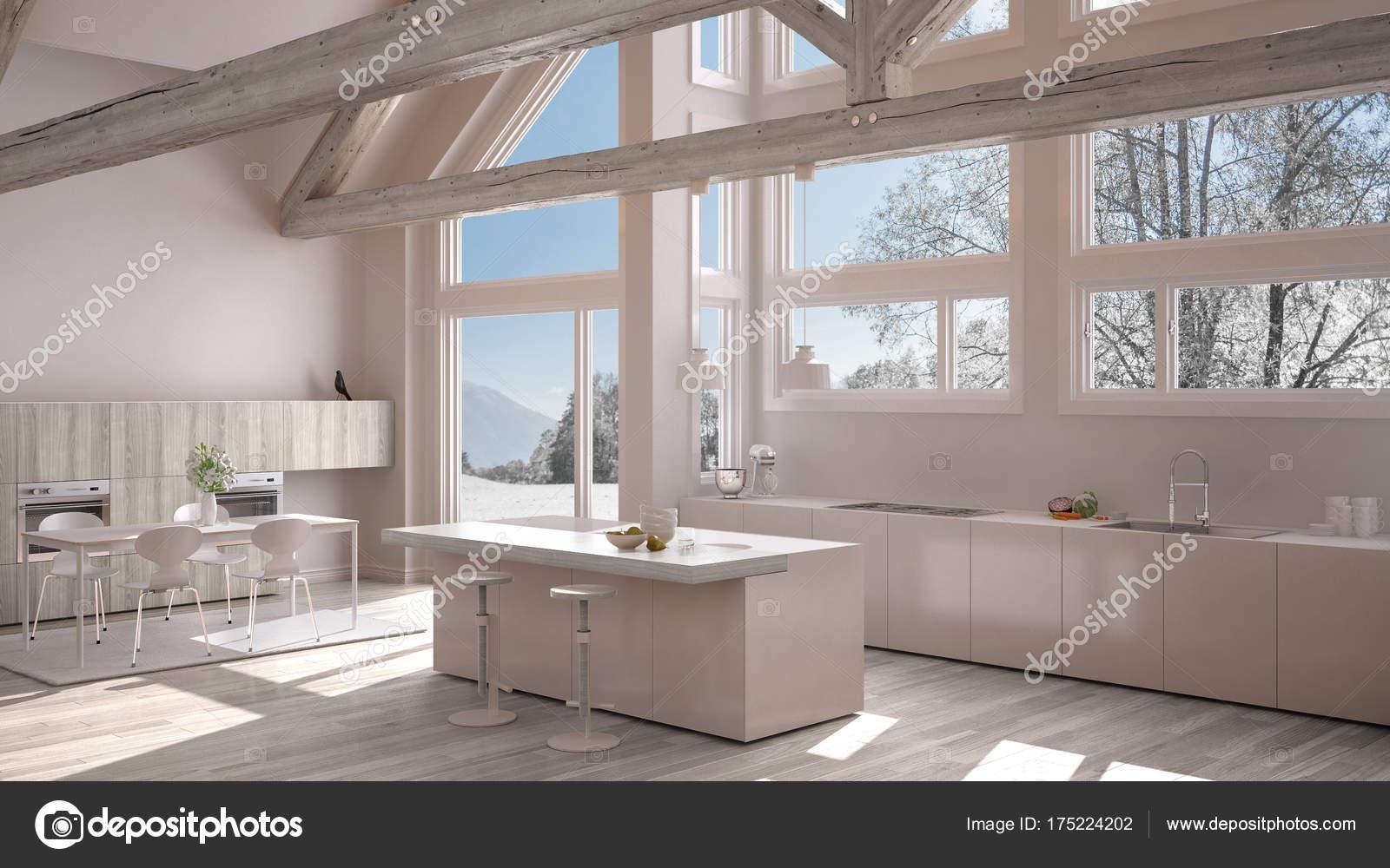 Moderne Küche im klassischen Villa, Loft, große Panoramafenster auf ...