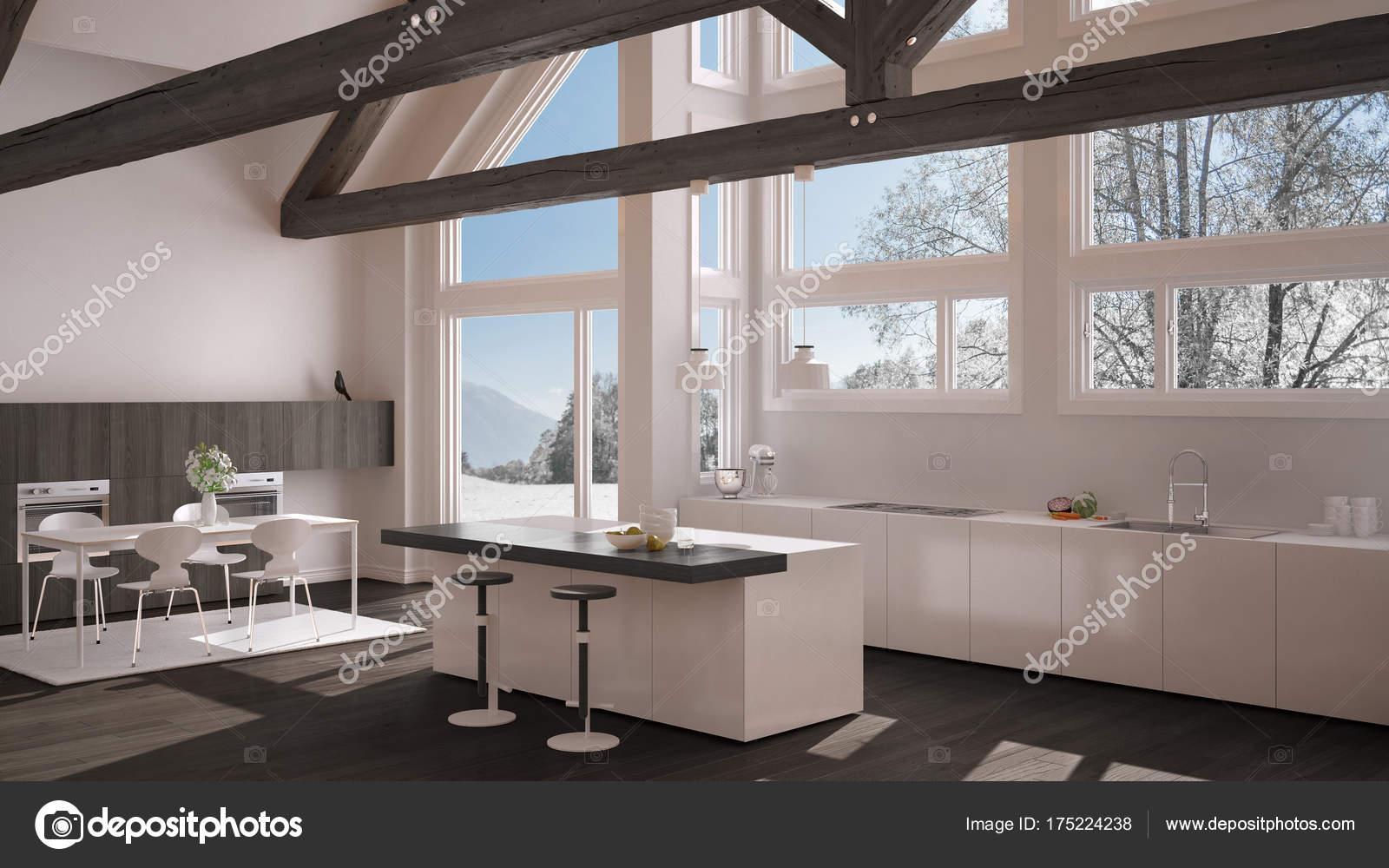 Moderne Kuche Im Klassischen Villa Loft Grosse Panoramafenster Auf