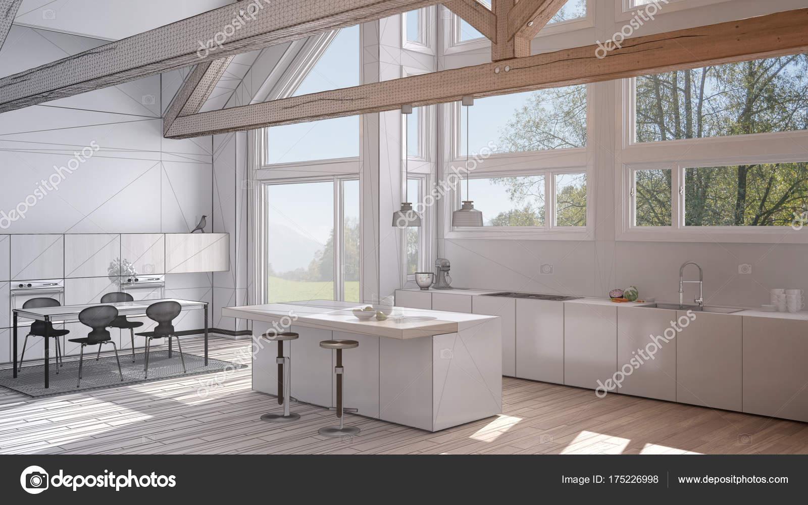 Progetto incompiuto di cucina moderna in classica villa, loft ...