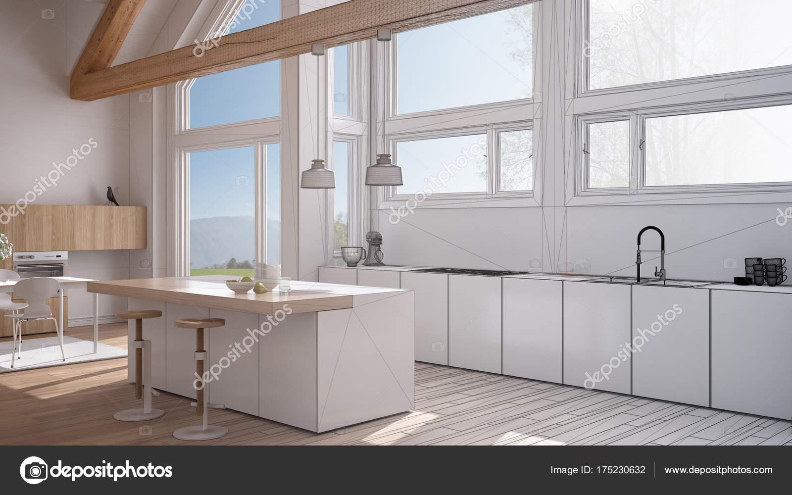 Projeto Inacabado De Cozinha Moderna Em Villa Cl Ssica Sot O