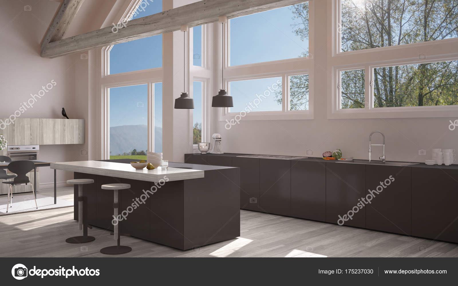 Modern kitchen in classic villa, loft, big panoramic windows on ...