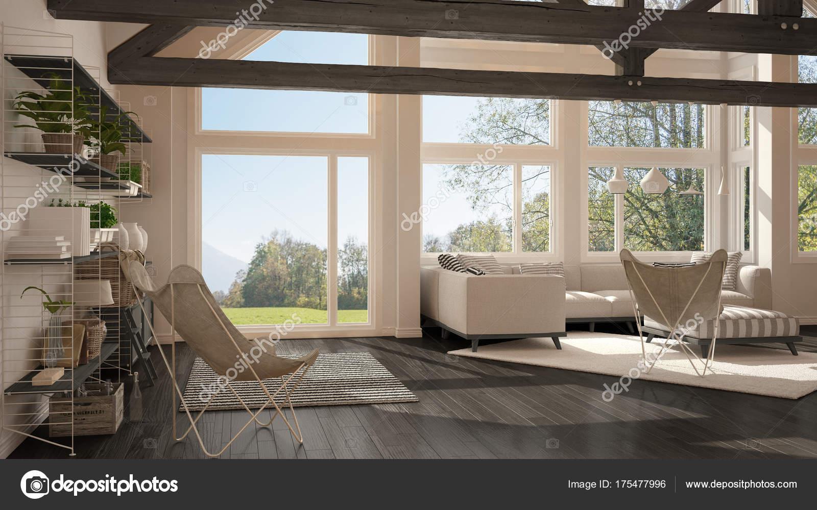 Soggiorno di lusso eco house, pavimento in parquet e tetto in legno ...